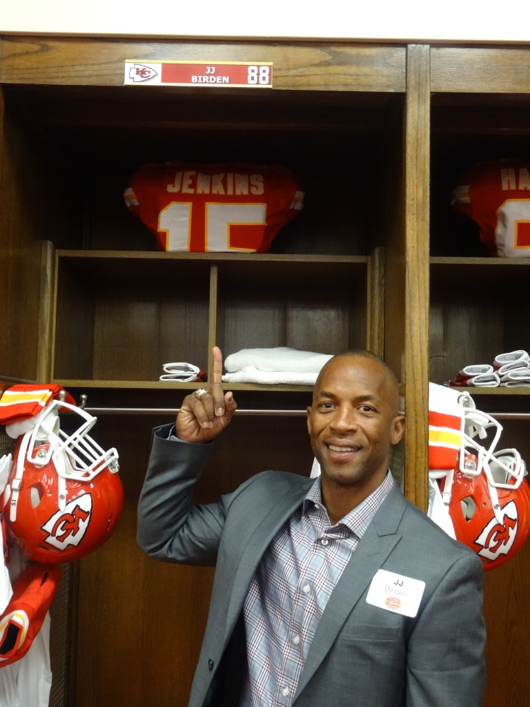 Chiefs locker room, alumni nameplate above their original lockers. :)
